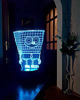 """Детский ночник - светильник """"Спанч Боб"""" 3DTOYSLAMP, фото 1"""