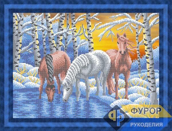 Схема для вишивки бісером картини Коні взимку на водопої (ЖБч3-123)