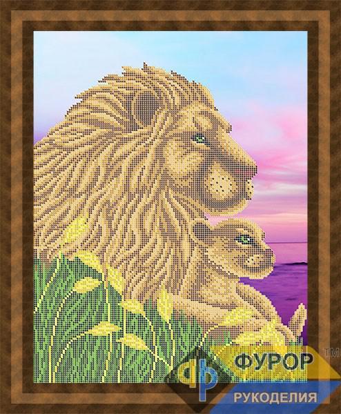 Схема для вишивки бісером картини Лев і левеня (ЖБч3-128)