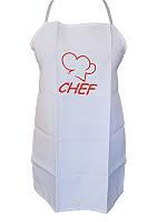 Фартук с вышивкой Шеф детский (белый) (Кухонные фартуки)