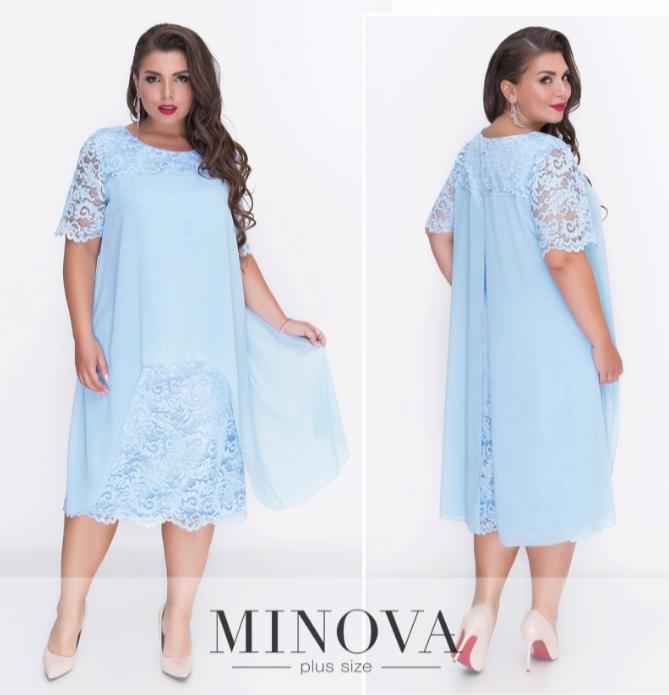 Кружевное платье прямого кроя с шифоновой драпировкой ТМ Minova батал р. 50.52