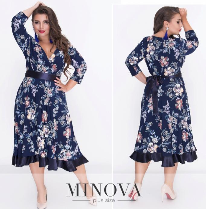 7f3355cb4d49 Платье-миди с глубоким декольте на запах ТМ Minova батал р. 52-58 ...