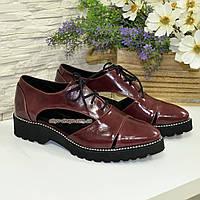 Кожаные туфли женские на утолщенной подошве, цвет бордо, фото 1