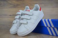 Кроссовки женские Adidas Stan Smith белые с красным. Реплика