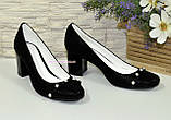 Туфли женские замшевые на устойчивом каблуке, фото 3
