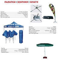 Зонтики, флаги, палатки