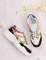 Разноцветные кроссовки с блестками женские 25741, фото 1
