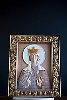 Резная Икона из дерева - Святая мученица Людмила