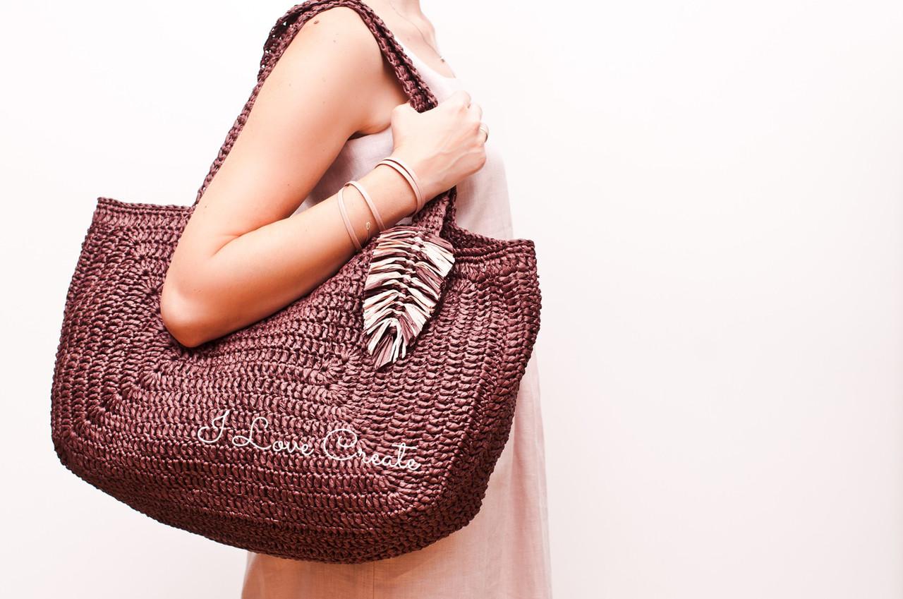 4bf34e71b966 Вязаная сумка Big Boss из натуральной рафии, Шоколад - Вязанные сумки,  схемы и видео