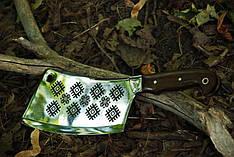 Нож секач ручной работы с лазерной гравировкой №1, 40Х13 (наличие уточняйте)