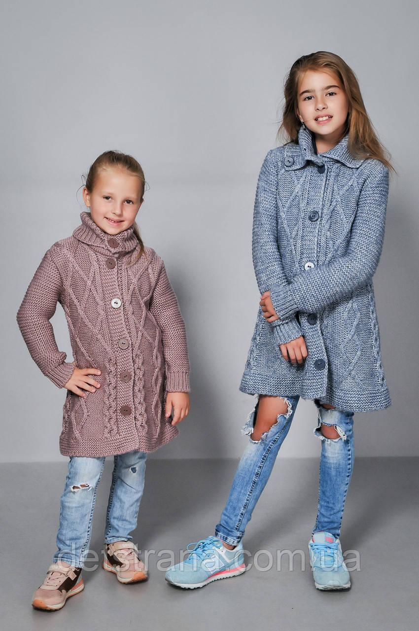 Вязанный кардиган для девочки без пояса