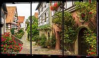 Модульные картины Улица с цветами