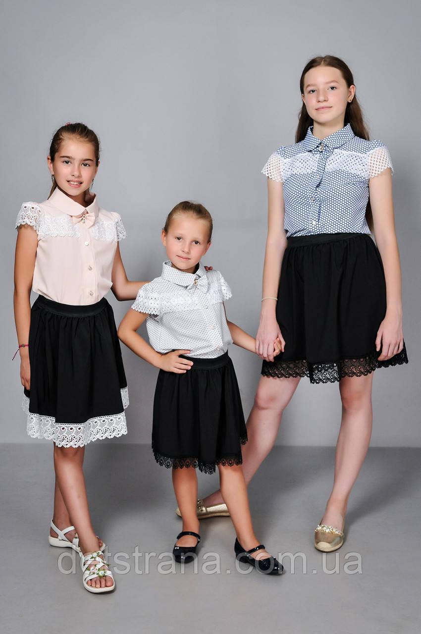 Школьная юбка для девочки с кружевом, фото 1