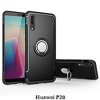 Huawei P20 чехол с подставкой и магнитной пластиной, чёрный