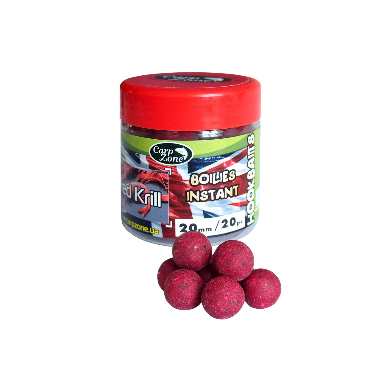 Бойлы насадочные вареные Boilies English series Instant Hookbaits Red Кrill 20mm  / 20pc