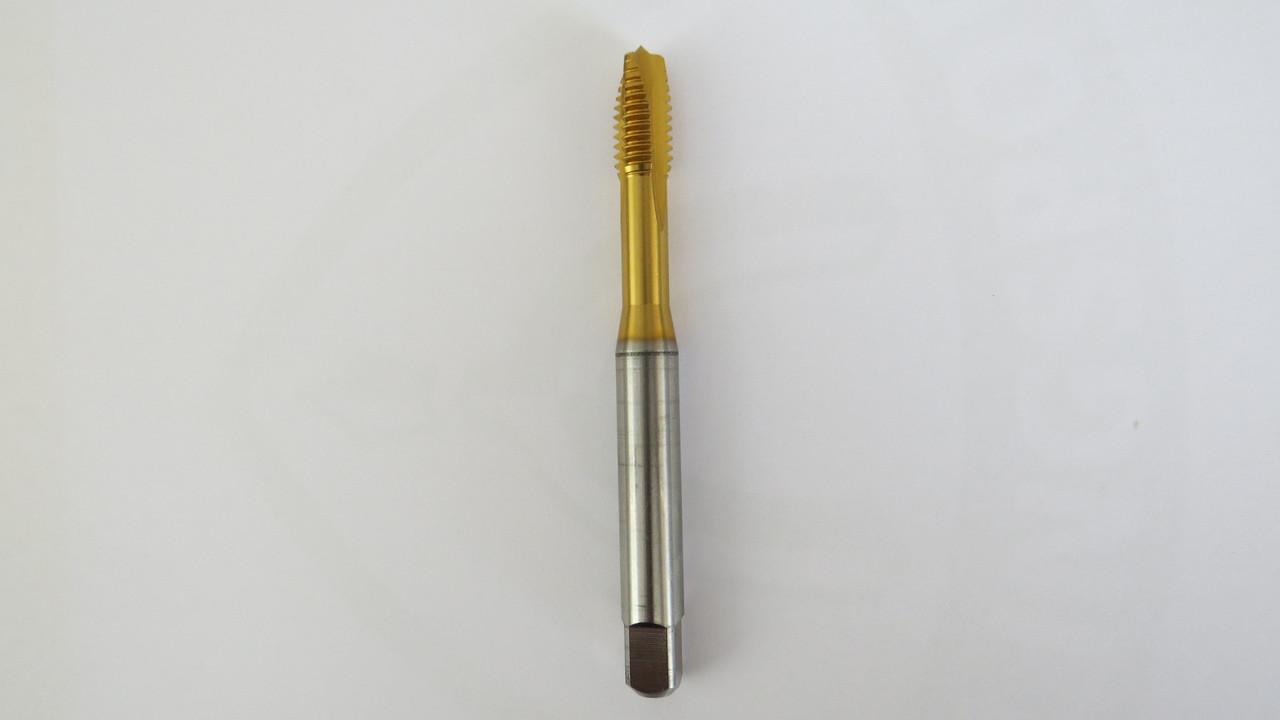 Метчик дюймовый UNC 3\8-16 нитей DIN371 TIN HSS-E тип (B) прямой НПР укороченный