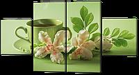 Модульная картина Чаепитие в зеленых тонах