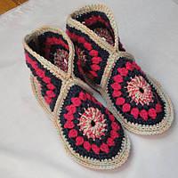Домашние комнатные ботиночки-угги из шерстяной пряжи 24см