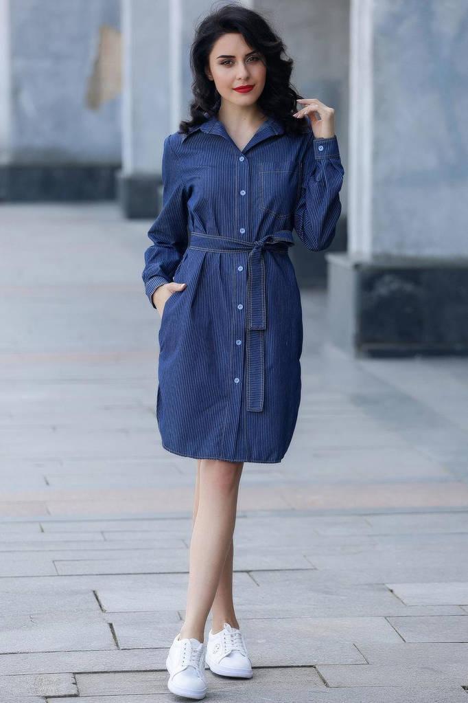 Тёмно-синяя рубашка AVALON в полоску