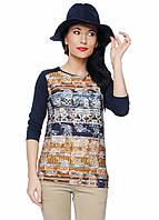bbf5c03603b Женская блуза из вискозы синего цвета с принтом. Модель Nataly Top-Bis