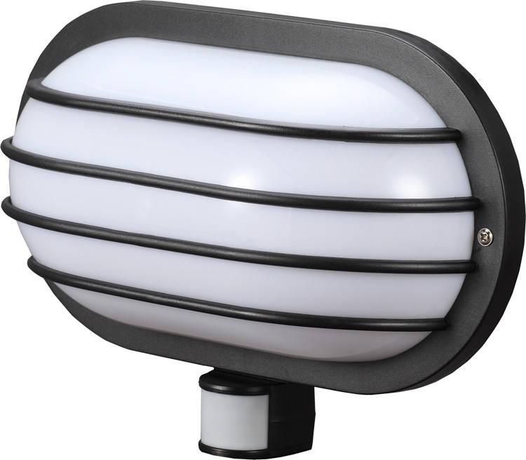 Светильник настенный с датчиком движения e.sensor.lum.69.e27.black (черный) 180 °, IP44
