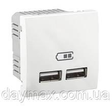 Розетка USB 2-модульна Unica, біла
