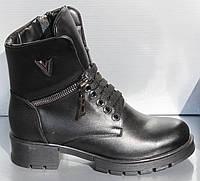 Женские кожаные ботинки черные, ботинки женские от производителя модель О-122, фото 1