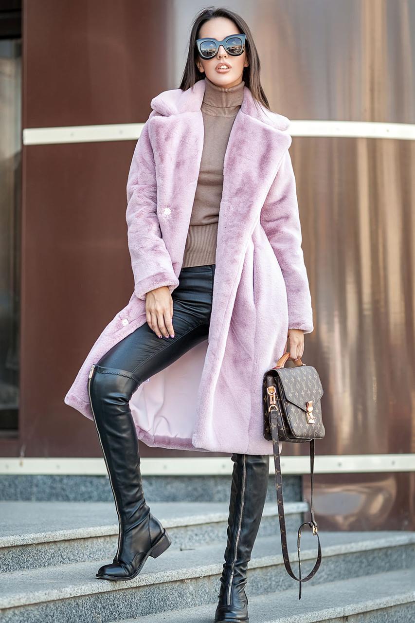 Розовая женская шубка из искусственного меха