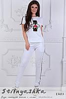 Трикотажный костюм Муха пайетка белый, фото 1