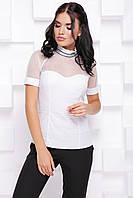 Прекрасная женская блуза с сеткой и коротким рукавом 7075, фото 1