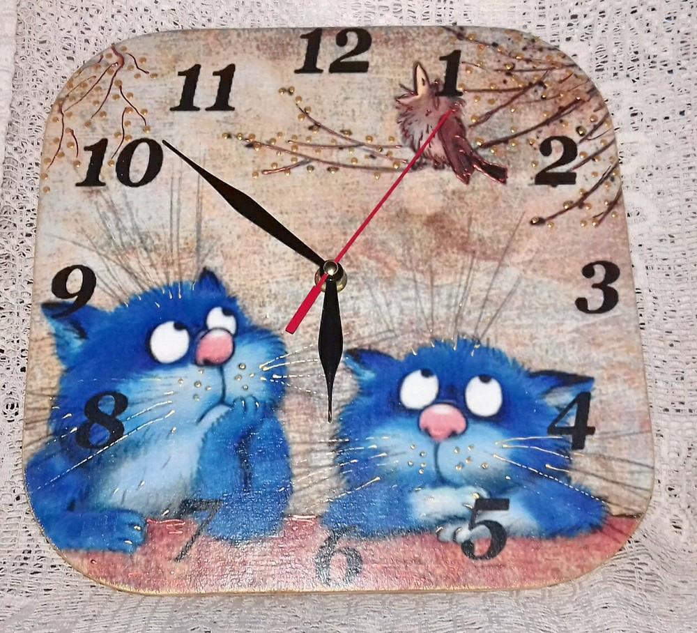 Настенный часы интерьерные с котами