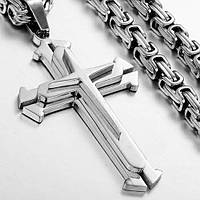 НАБОР STEEL RAGE SILVER :ЦЕПОЧКА+КРЕСТ