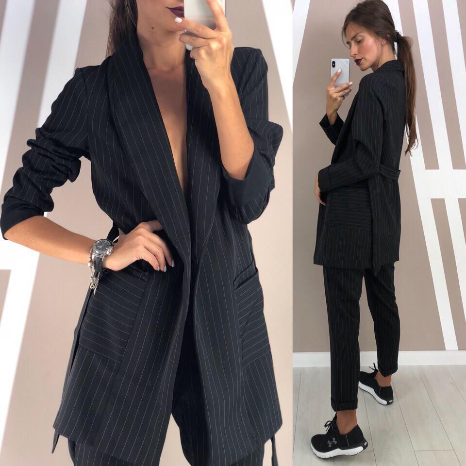 9fb0c1aee37 Женский классический костюм брюки и пиджак в полоску  продажа