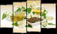 """Модульная картина """"Чай с цветами"""""""