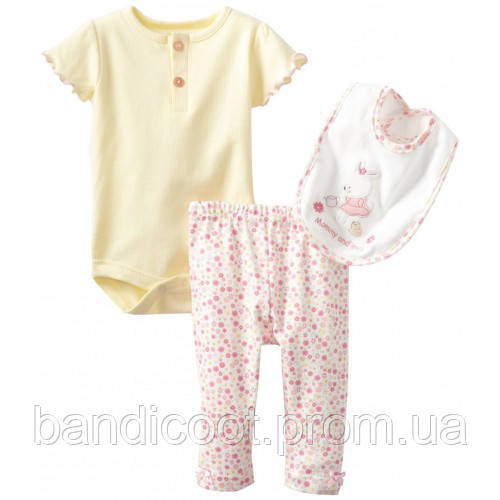 Бодик, штанишки, слюнявчик Bon Bebe для новорожденных, размер 3 - 6 месяцев Baby-Girls Newborn Mommy and Me