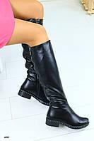 Демисезонные кожаные женские сапоги на низком ходу,в черном цвете
