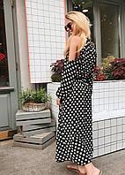 Шифоновое удлиненное пышное платье в горох с рукавом