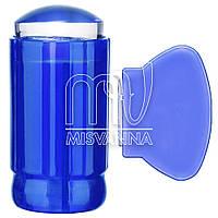 Штамп для стемпинга силиконовый со скребком полупрозрачный синий