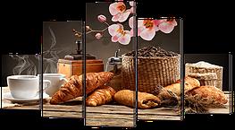 "Модульная картина ""Кофе. Круасаны. Цветы"""
