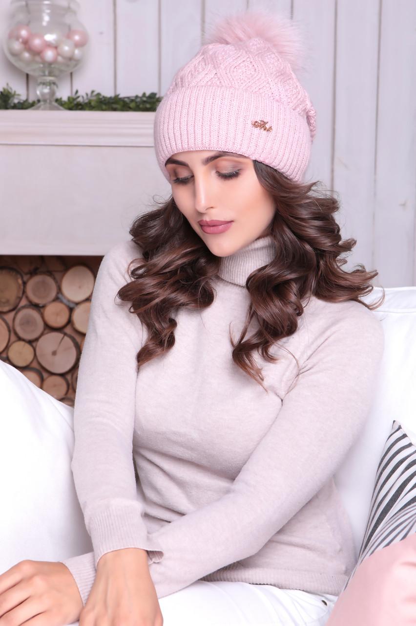 Женская шапка «Адель» с песцовым помпоном