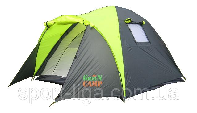 Палатка 3 местная Green Camp 2 входа туристическая с тамбуром 1011-2