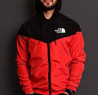 Ветровка мужская красная с черным непромокаемая летняя легкая The North Face ТNF Зе Норс Фейс