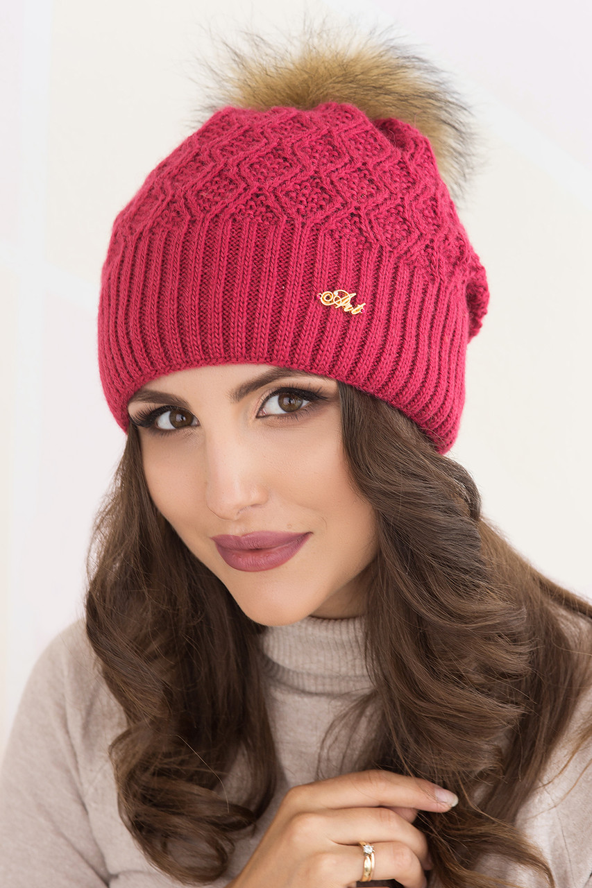 Женская шапка «Виола» Блюфрост Помпон