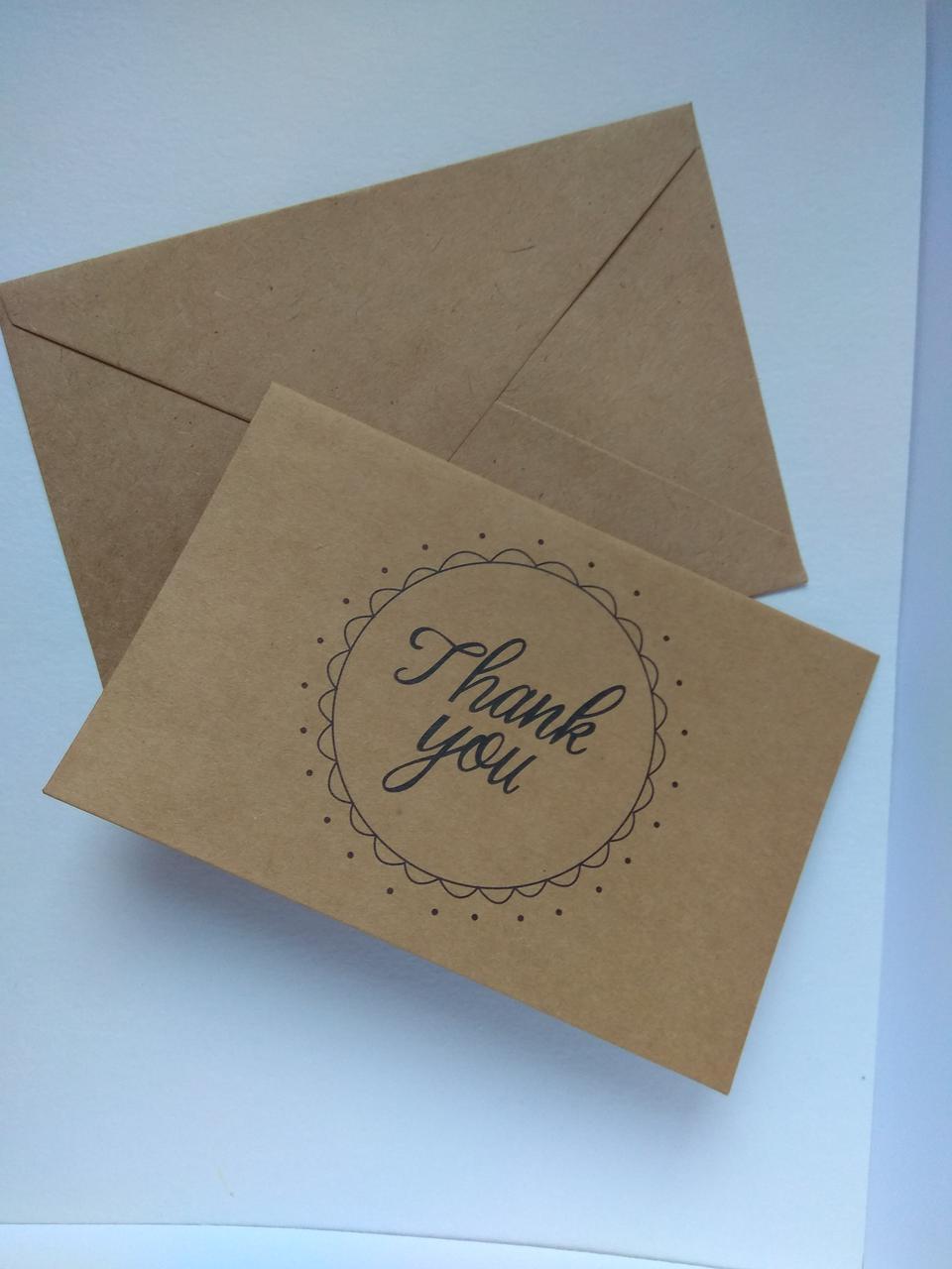 Открытка Спасибо с конвертом