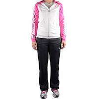 Костюм спортивный женский adidas Young KNIT O03203 (белый с черным и розовым, прямой крой, с логотипом адидас)