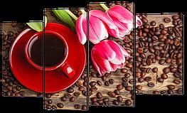"""Модульная картина """"Кофе в красной чашке и розовые тюльпаны"""""""