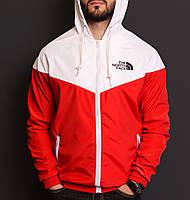 Ветровка с капюшоном мужская спортивная красная с белым The North Face ТNF Зе Норс Фейс