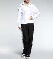 Костюм спортивный женский adidas 365 Wov Suit 607530 (белый с черным, без манжета, прямой крой, бренд адидас), фото 1