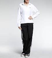 Костюм спортивный женский adidas 365 Wov Suit 607530 (белый с черным, без манжета, прямой крой, бренд адидас)