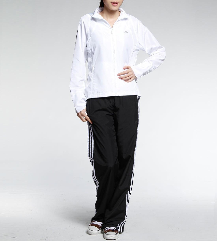 45f7d021e5de Костюм спортивный женский adidas 365 Wov Suit 607530 (белый с черным, без  манжета, прямой крой, бренд адидас)